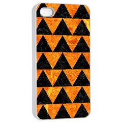 Triangle2 Black Marble & Orange Marble Apple Iphone 4/4s Seamless Case (white) by trendistuff