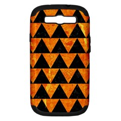 Triangle2 Black Marble & Orange Marble Samsung Galaxy S Iii Hardshell Case (pc+silicone) by trendistuff