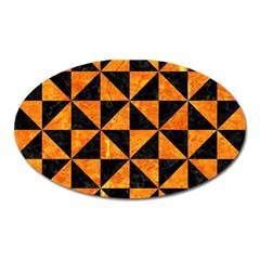 Triangle1 Black Marble & Orange Marble Magnet (oval) by trendistuff