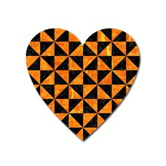 Triangle1 Black Marble & Orange Marble Magnet (heart) by trendistuff