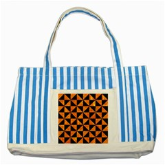 Triangle1 Black Marble & Orange Marble Striped Blue Tote Bag by trendistuff