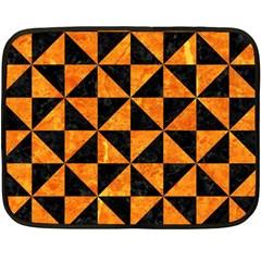 Triangle1 Black Marble & Orange Marble Fleece Blanket (mini) by trendistuff