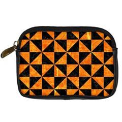 Triangle1 Black Marble & Orange Marble Digital Camera Leather Case by trendistuff