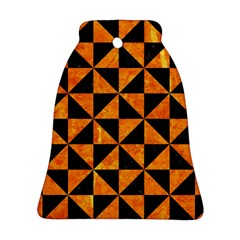 Triangle1 Black Marble & Orange Marble Bell Ornament (two Sides) by trendistuff