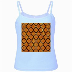 Tile1 Black Marble & Orange Marble (r) Baby Blue Spaghetti Tank by trendistuff