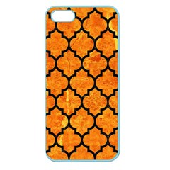 Tile1 Black Marble & Orange Marble (r) Apple Seamless Iphone 5 Case (color)