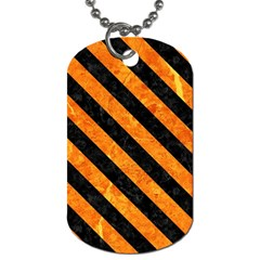 Stripes3 Black Marble & Orange Marble (r) Dog Tag (two Sides)
