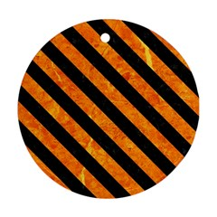 Stripes3 Black Marble & Orange Marble (r) Round Ornament (two Sides) by trendistuff