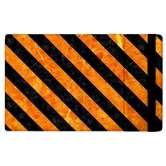 Stripes3 Black Marble & Orange Marble (r) Apple Ipad 3/4 Flip Case