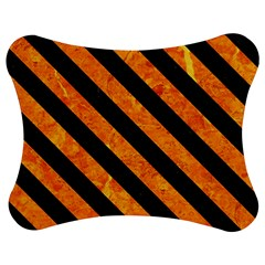 Stripes3 Black Marble & Orange Marble (r) Jigsaw Puzzle Photo Stand (bow) by trendistuff