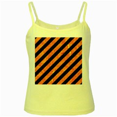 Stripes3 Black Marble & Orange Marble Yellow Spaghetti Tank by trendistuff