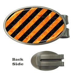 Stripes3 Black Marble & Orange Marble Money Clip (oval) by trendistuff