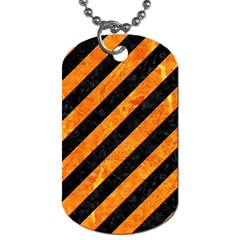 Stripes3 Black Marble & Orange Marble Dog Tag (two Sides) by trendistuff