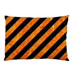 Stripes3 Black Marble & Orange Marble Pillow Case (two Sides) by trendistuff