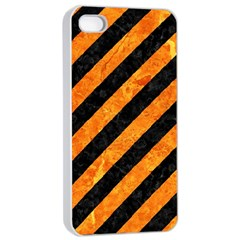 Stripes3 Black Marble & Orange Marble Apple Iphone 4/4s Seamless Case (white) by trendistuff
