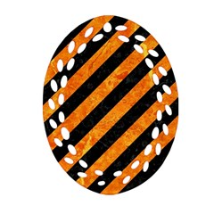 Stripes3 Black Marble & Orange Marble Oval Filigree Ornament (two Sides) by trendistuff
