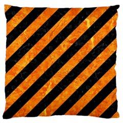 Stripes3 Black Marble & Orange Marble Large Cushion Case (two Sides) by trendistuff