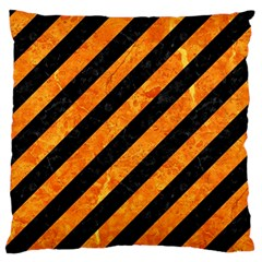 Stripes3 Black Marble & Orange Marble Standard Flano Cushion Case (one Side) by trendistuff