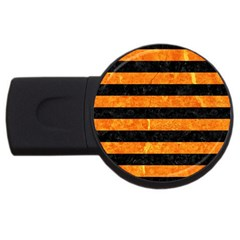 Stripes2 Black Marble & Orange Marble Usb Flash Drive Round (4 Gb)