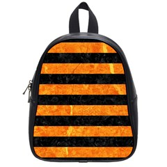 Stripes2 Black Marble & Orange Marble School Bag (small) by trendistuff