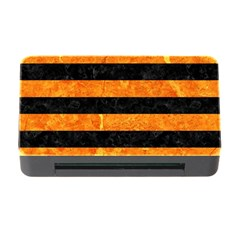 Stripes2 Black Marble & Orange Marble Memory Card Reader With Cf by trendistuff