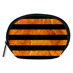 Stripes2 Black Marble & Orange Marble Accessory Pouch (medium) by trendistuff