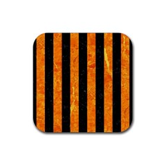 Stripes1 Black Marble & Orange Marble Rubber Square Coaster (4 Pack) by trendistuff