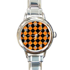 Square2 Black Marble & Orange Marble Round Italian Charm Watch