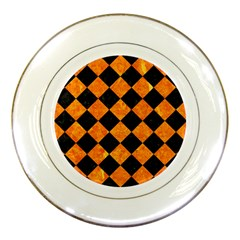 Square2 Black Marble & Orange Marble Porcelain Plate by trendistuff