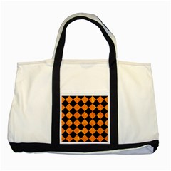 Square2 Black Marble & Orange Marble Two Tone Tote Bag by trendistuff