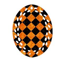 Square2 Black Marble & Orange Marble Ornament (oval Filigree) by trendistuff