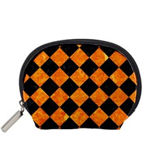 Square2 Black Marble & Orange Marble Accessory Pouch (small) by trendistuff