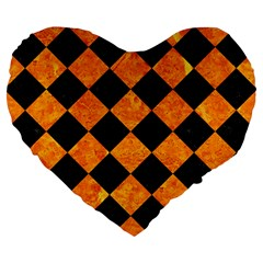 Square2 Black Marble & Orange Marble Large 19  Premium Flano Heart Shape Cushion by trendistuff