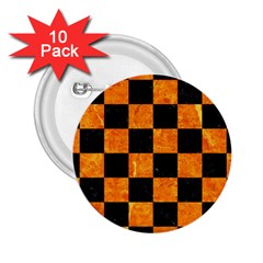 Square1 Black Marble & Orange Marble 2 25  Button (10 Pack) by trendistuff