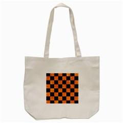 Square1 Black Marble & Orange Marble Tote Bag (cream) by trendistuff