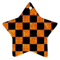 Square1 Black Marble & Orange Marble Star Ornament (two Sides)