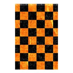 Square1 Black Marble & Orange Marble Shower Curtain 48  X 72  (small) by trendistuff