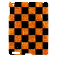 Square1 Black Marble & Orange Marble Apple Ipad 3/4 Hardshell Case by trendistuff