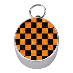 Square1 Black Marble & Orange Marble Silver Compass (mini) by trendistuff