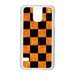 SQR1 BK-OR MARBLE Samsung Galaxy S5 Case (White) by trendistuff