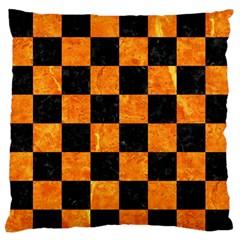 Square1 Black Marble & Orange Marble Standard Flano Cushion Case (one Side)