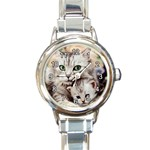 KITTEN & MOTHER CAT ROUND ITALIAN CHARM WATCH