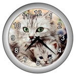 KITTEN & MOTHER CAT WALL CLOCK (SILVER)