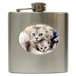 KITTEN & MOTHER CAT STAINLESS STEAL HIP FLASK (6 OZ)