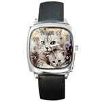 KITTEN & MOTHER CAT SQUARE METAL WATCH