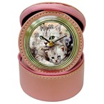 KITTEN & MOTHER CAT JEWELRY CASE CLOCK (PINK)