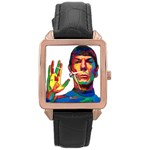 spock - Rose Gold Leather Watch