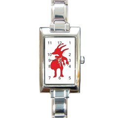 Grotesque Red Creature  Rectangle Italian Charm Watch by dflcprints