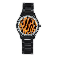Skin4 Black Marble & Orange Marble Stainless Steel Round Watch by trendistuff