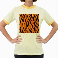 Skin3 Black Marble & Orange Marble (r) Women s Fitted Ringer T Shirt by trendistuff